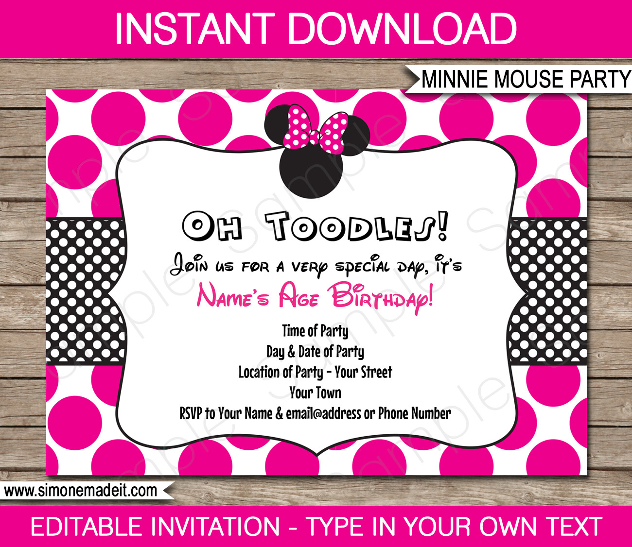 Free Minnie Mouse Invitations Minnie Mouse Party Invitations Template