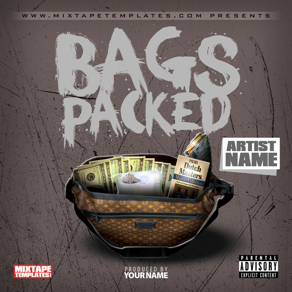 Free Mixtape Cover Templates Bags Packed Mixtape Cover Template by