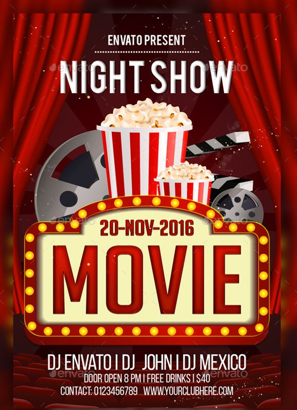 Free Movie Night Flyer Template 21 Night Flyer Templates Psd Vector Eps Jpg Download