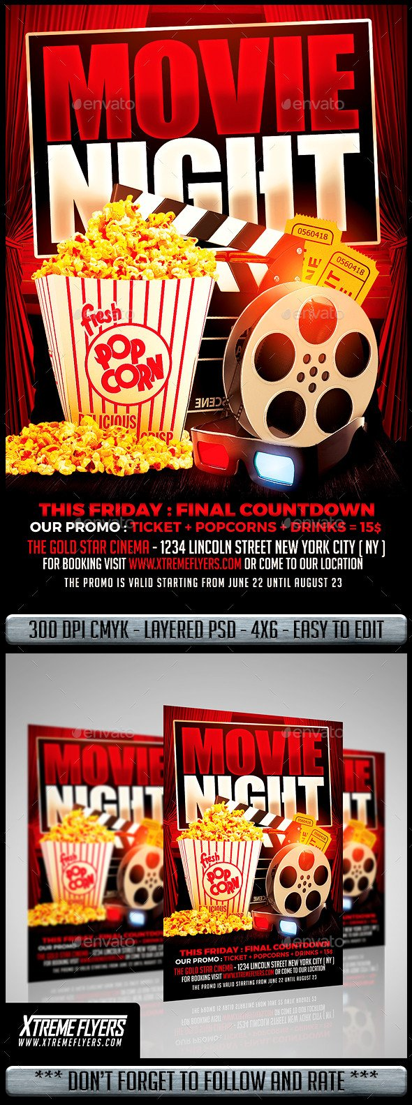 Free Movie Night Flyer Template Movie Night Flyer by Matteogianfreda