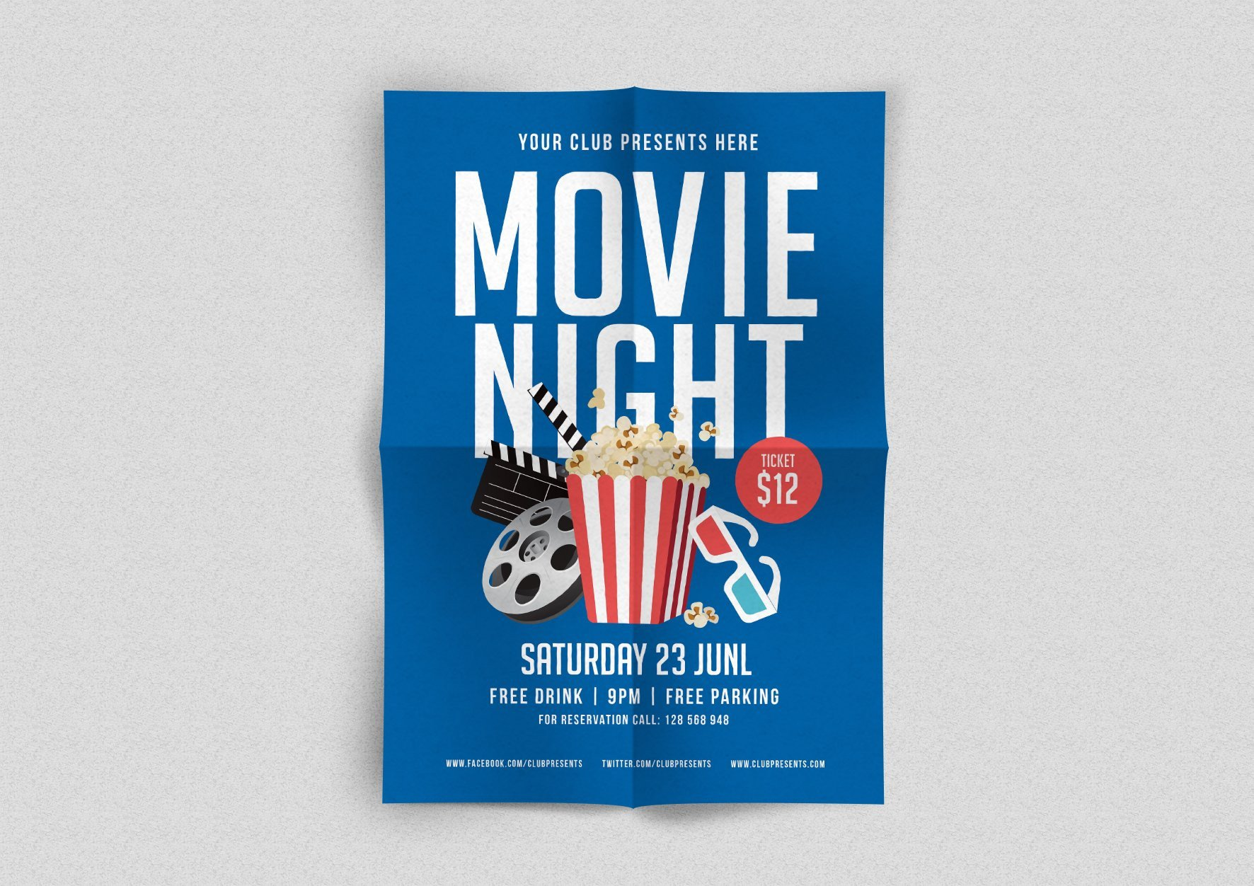 Free Movie Night Flyer Template Movie Night Flyer Flyer Templates Creative Market