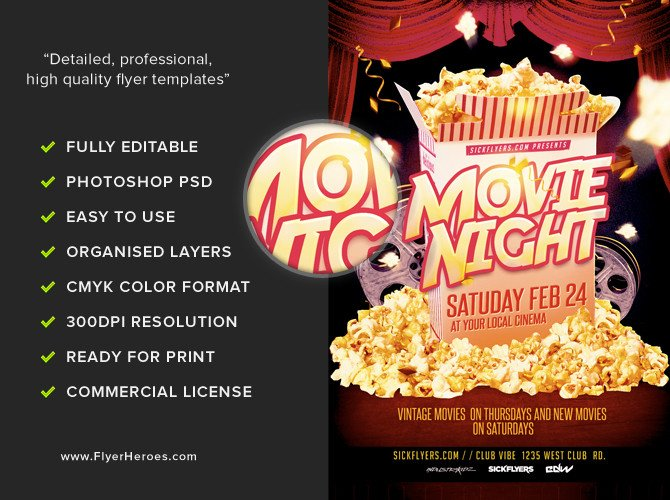 Free Movie Night Flyer Template Movie Night Flyer Template Flyerheroes
