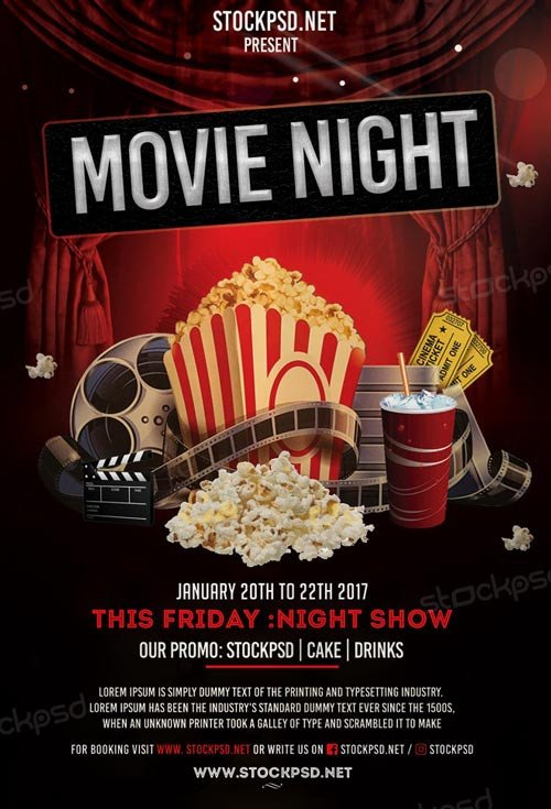 Free Movie Night Flyer Template Movie Night Free Flyer Template Download Flyer Templates