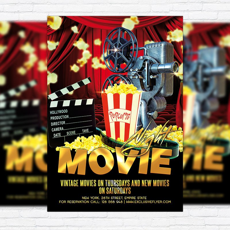 Free Movie Night Flyer Template Movie Night – Premium Flyer Template Cover