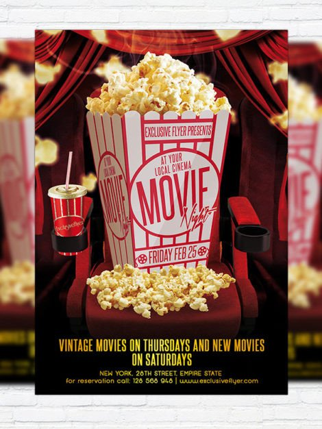 Free Movie Night Flyer Template Movie Night – Premium Psd Flyer Template