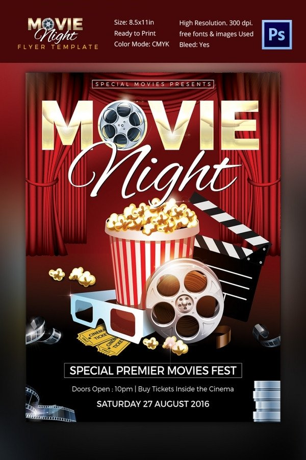 Free Movie Night Flyer Template Movie Poster Templates – 44 Free Psd format Download