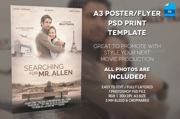 Free Movie Poster Template A3 Movie Poster Print Template 1 Flyer Templates On