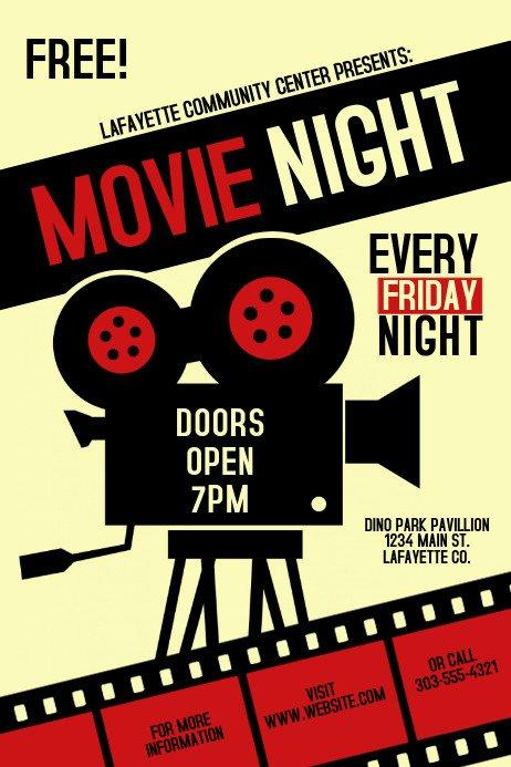 Free Movie Poster Template Movie Night Template
