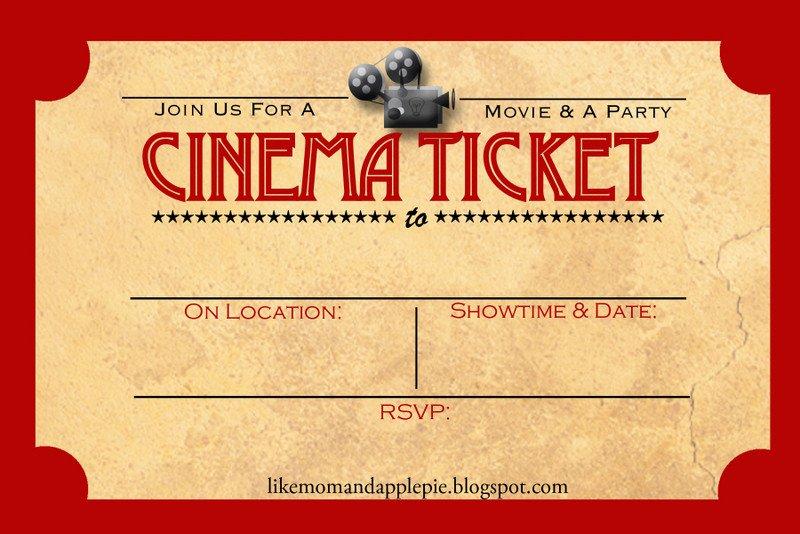 Free Movie Ticket Template Favorite Movie Night Party Ideas Decor to Adore