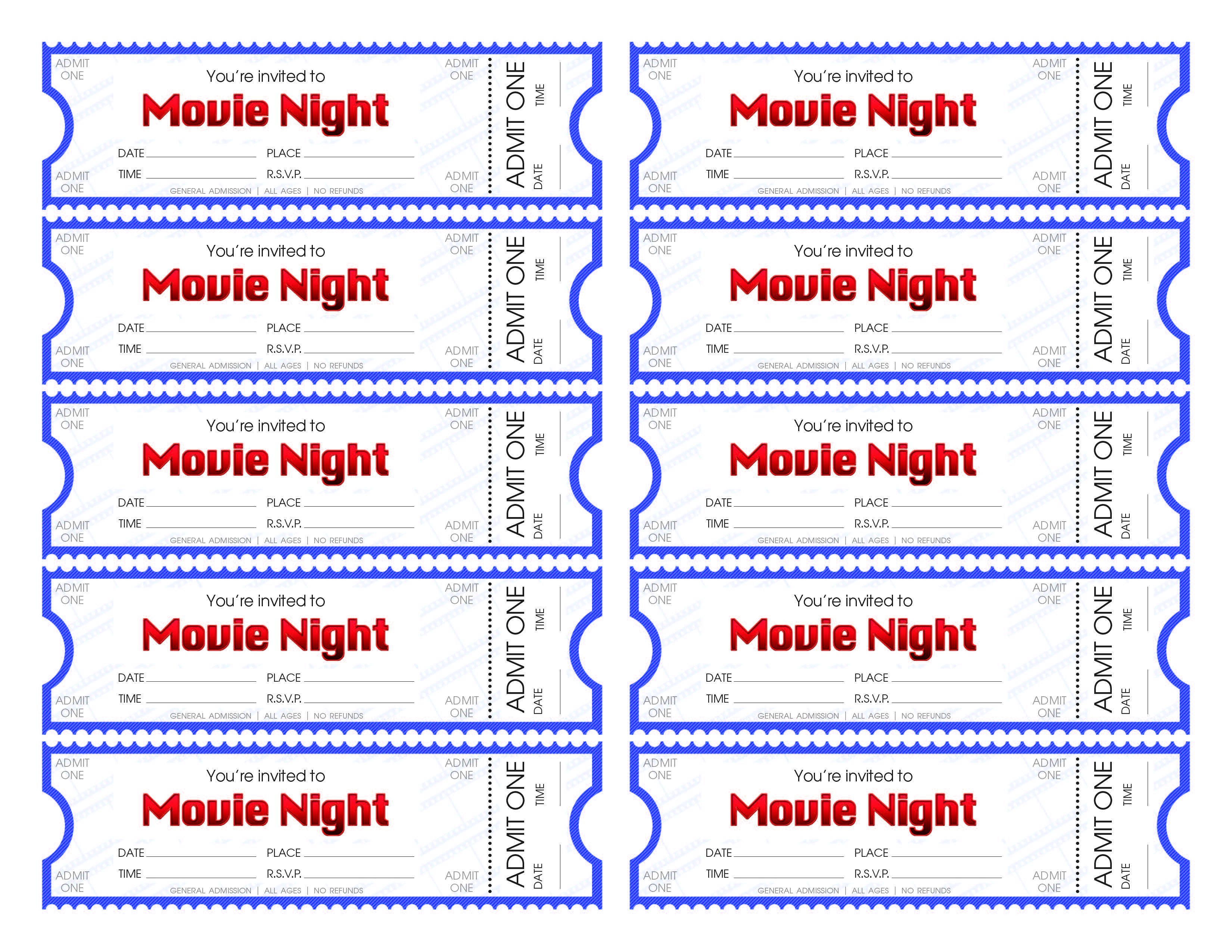 Free Movie Ticket Template Make Your Own Movie Night Tickets