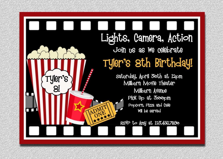 Free Movie Ticket Template Movie Birthday Invitation Movie Night Birthday Party