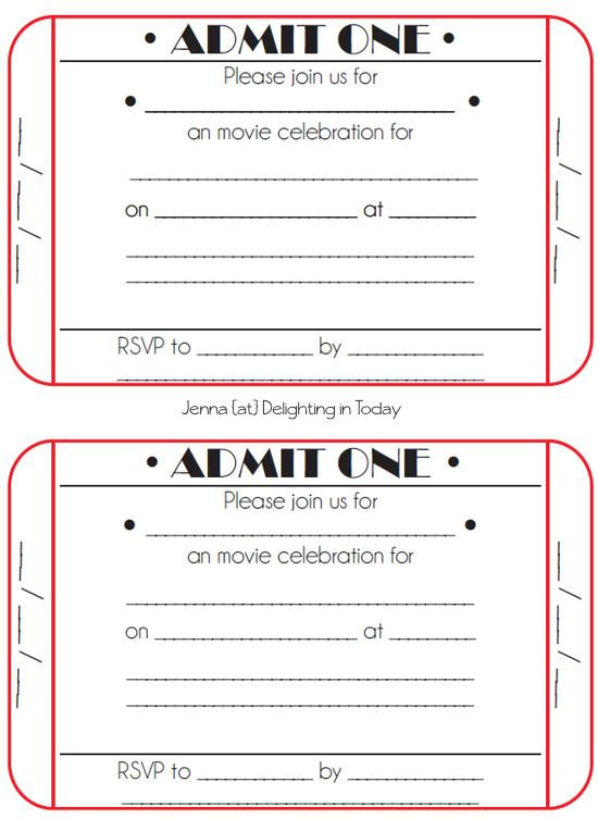 Free Movie Ticket Template Movie Ticket Birthday Invitations Free Printable