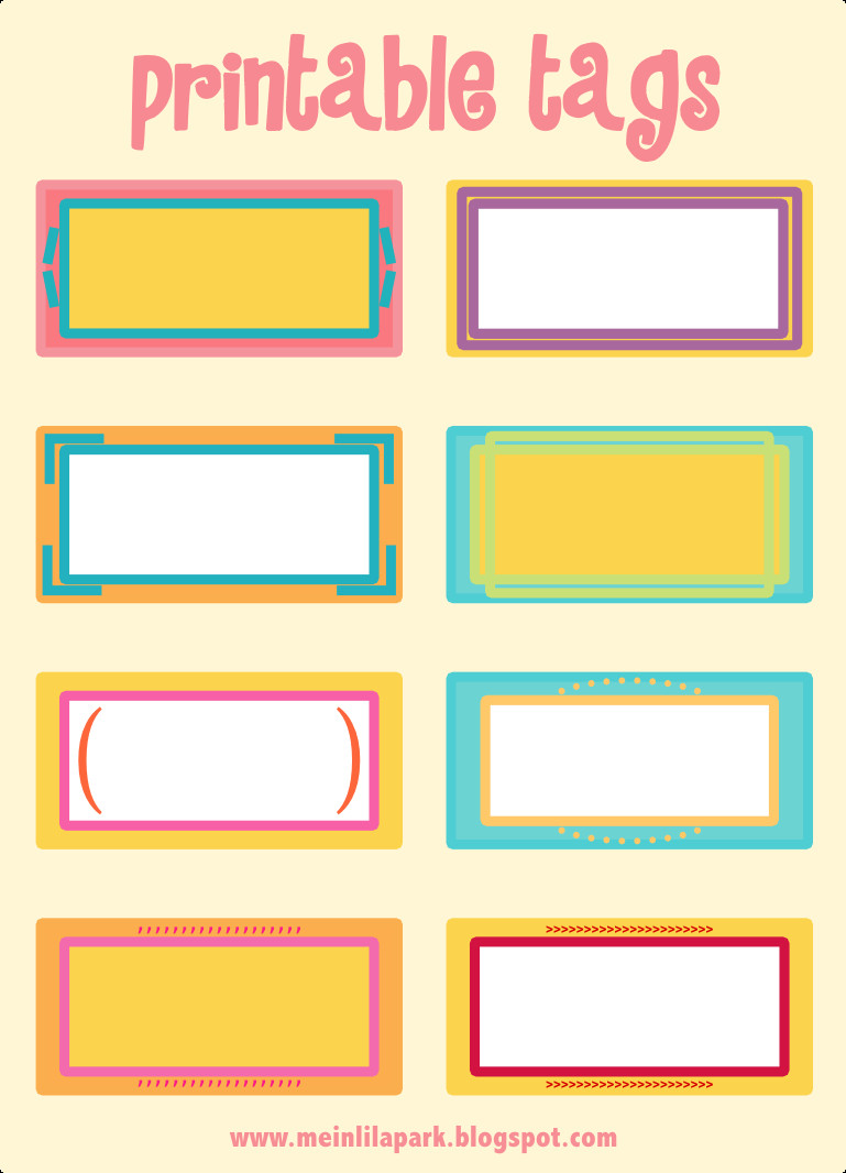 Free Name Tag Templates Free Printable Cheerfully Colored Tags – Ausdruckbare