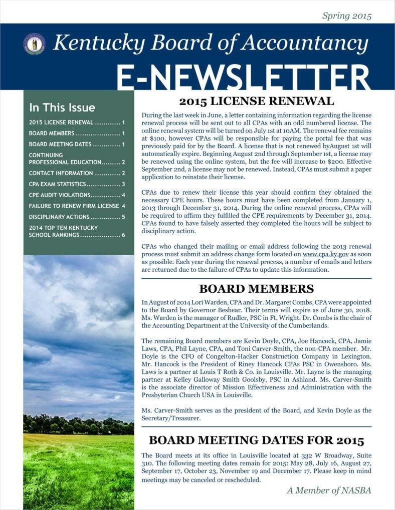 Free Newsletter Templates Download 9 Basic Newsletter Templates Free Word Pdf format