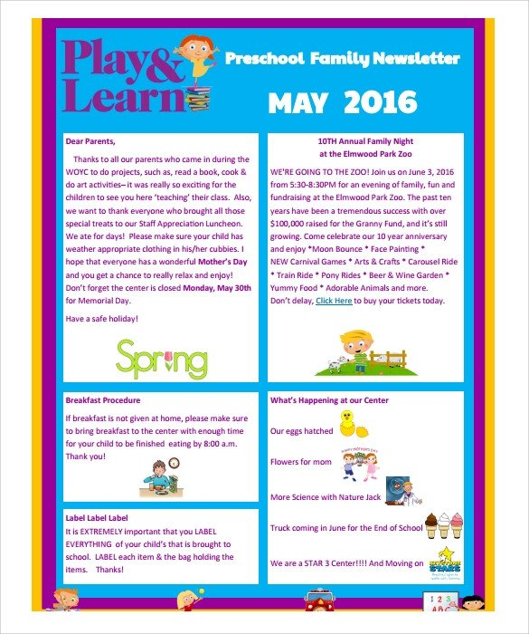 Free Newsletter Templates Download Sample Preschool Newsletter 8 Free Download for Word Pdf