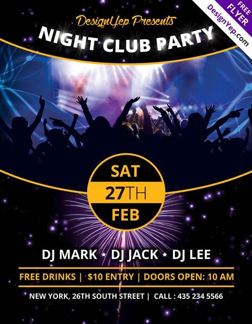 Free Nightclub Flyer Templates Download Nightclub Party Free Psd Flyer Template