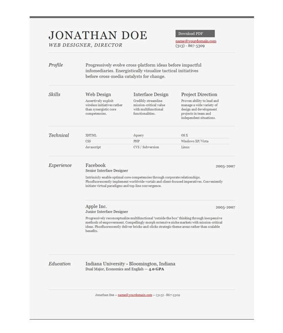Free One Page Resume Template 11 Psd E Page Resume Templates Designbump