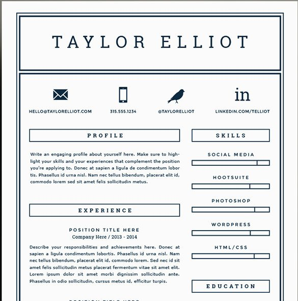 Free One Page Resume Template 41 E Page Resume Templates Free Samples Examples