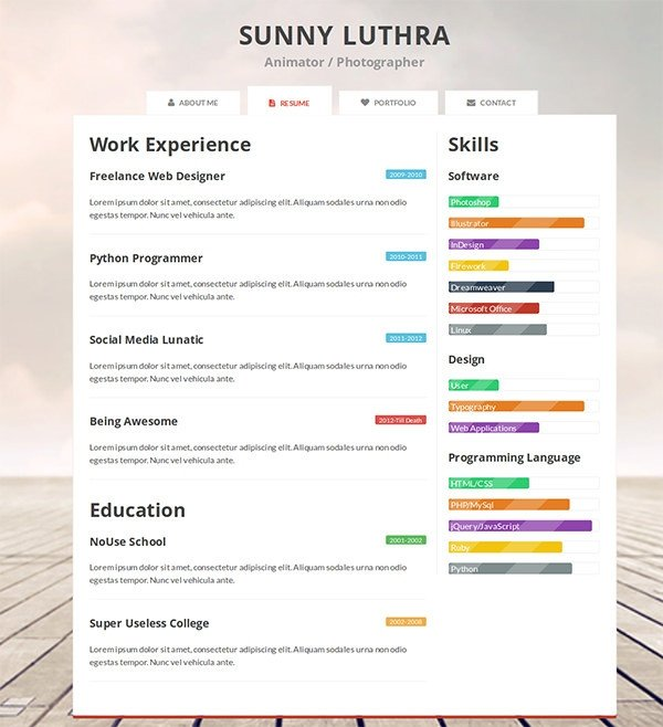 Free One Page Resume Template 41 HTML5 Resume Templates Free Samples Examples format
