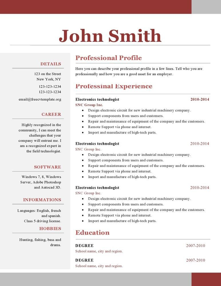 Free One Page Resume Template E Page Resume Template Free Download Paru
