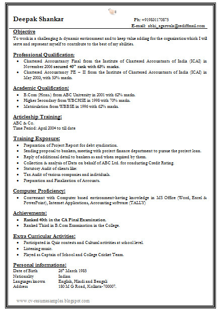Free One Page Resume Template E Page Resume Template