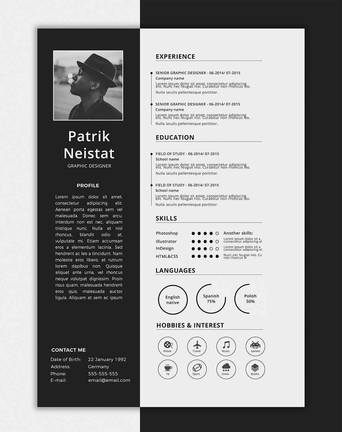 Free One Page Resume Template E Page Resume Templates 15 Examples to Download and Use now