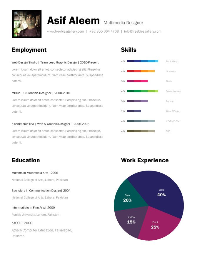 Free One Page Resume Template Free E Page Resume Templates