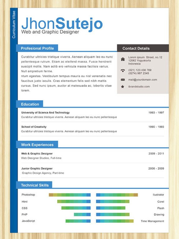 Free One Page Resume Template Free Professional Line E Page Resume Templates