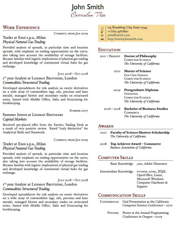 Free One Page Resume Template Two Column E Page Cv Resume Template