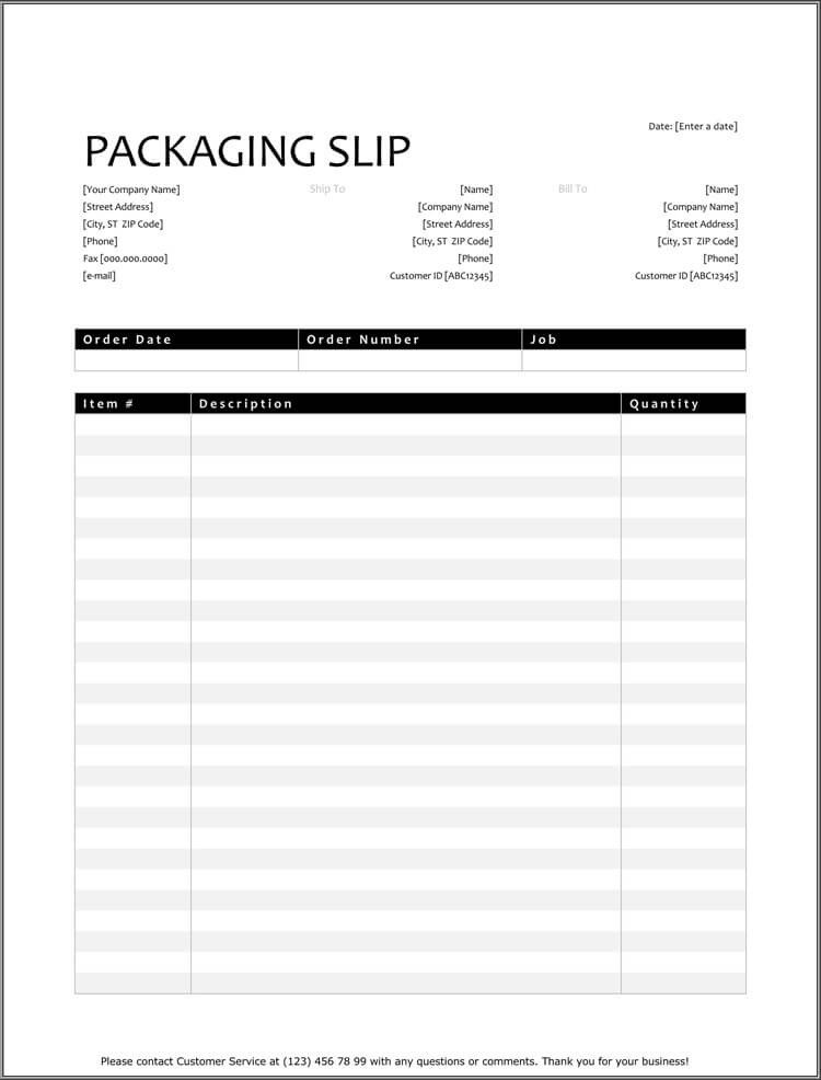 Free Packing Slip Template 25 Free Shipping & Packing Slip Templates for Word & Excel