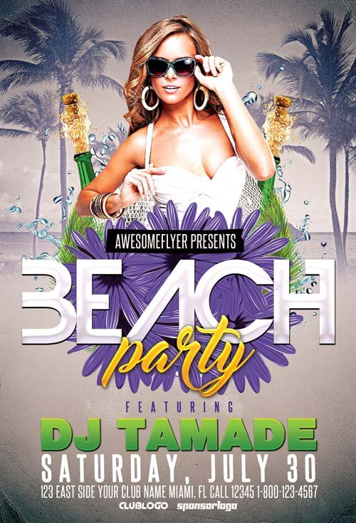 Free Party Flyer Templates Download Summer Beach Club Party Free Flyer Template
