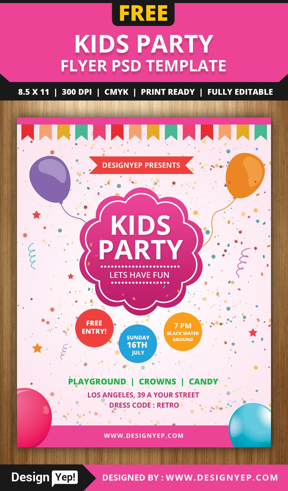 Free Party Flyer Templates Free Kids Party Flyer Psd Template Designyep