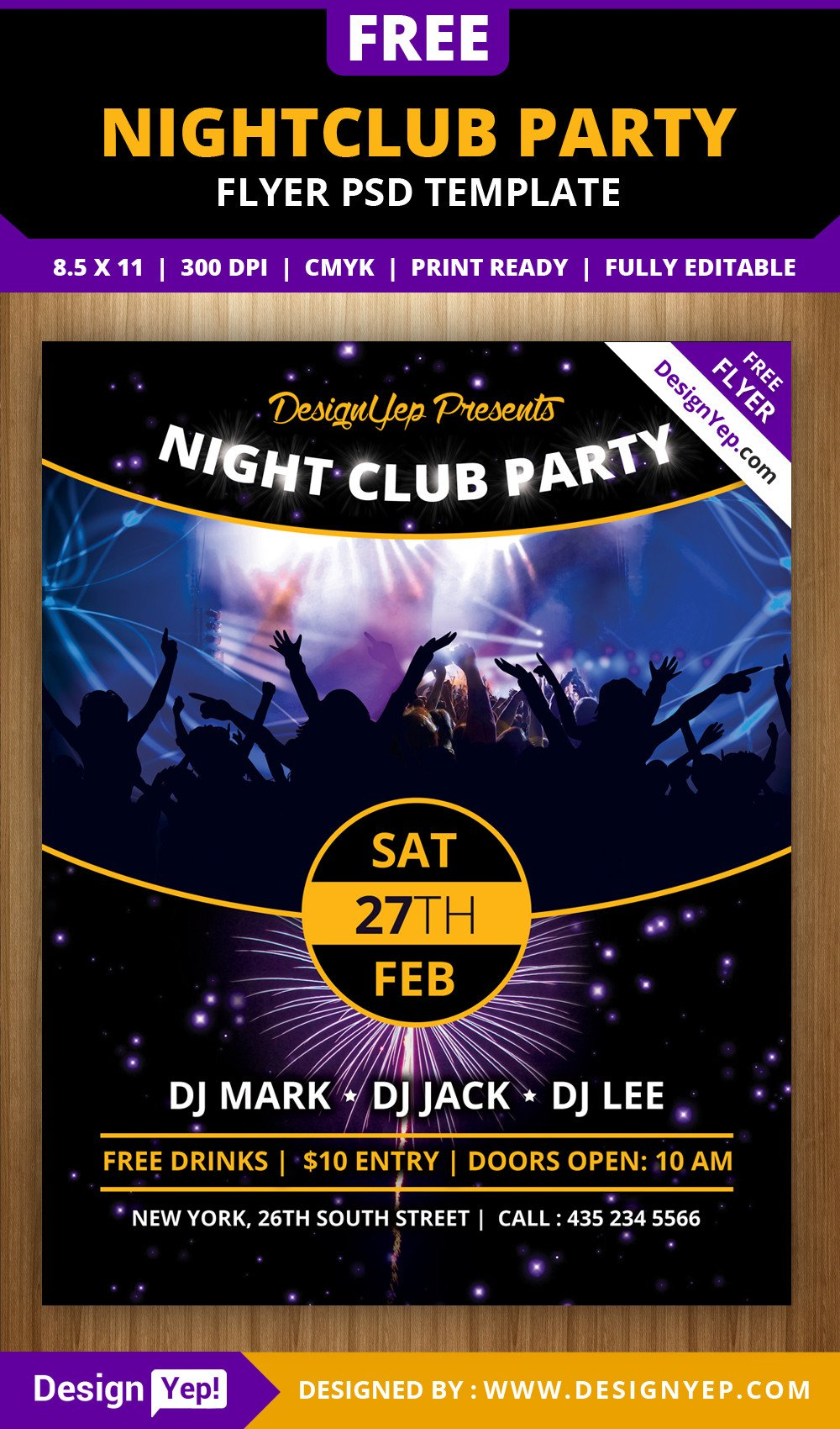 Free Party Flyer Templates Free Nightclub Party Flyer Psd Template Designyep