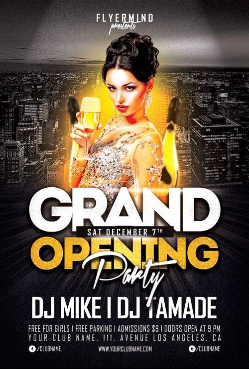 Free Party Flyer Templates Grand Opening Party Flyer Template Freebie Free Party