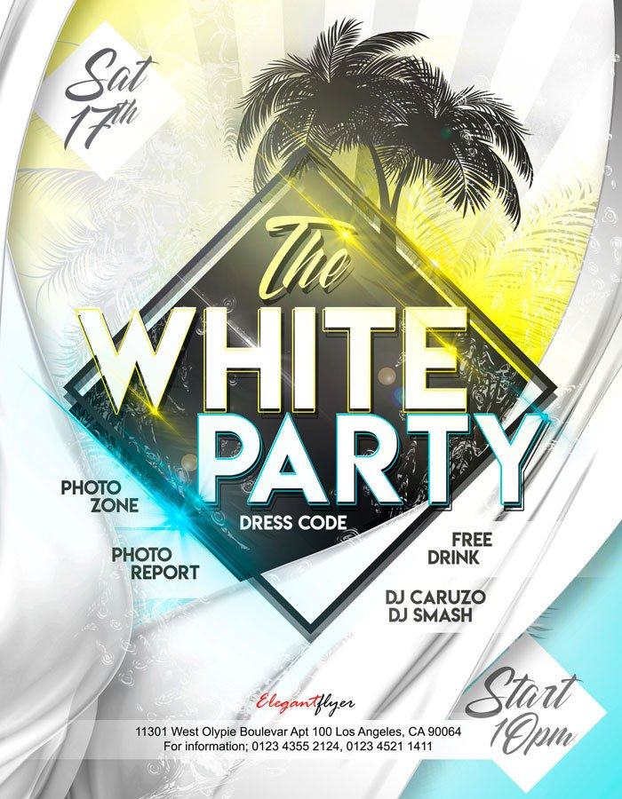 Free Party Flyer Templates White Party – Free Flyer Psd Template – by Elegantflyer