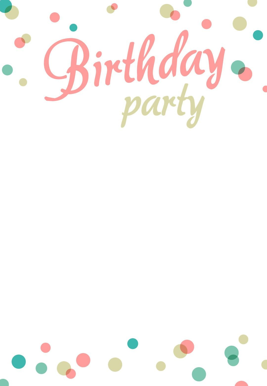 Free Party Invitation Template Word Birthday Party Invitation Free Printable
