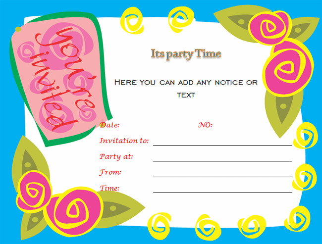 Free Party Invitation Template Word Birthday Party Invitations Microsoft Word Templates