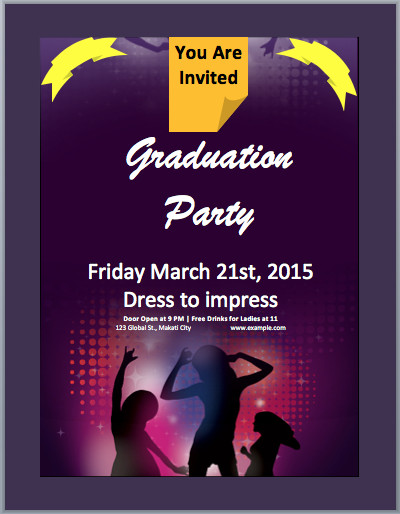 Free Party Invitation Template Word Graduation Party Invitation Flyer Template – Microsoft