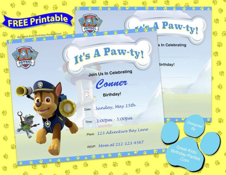 Free Paw Patrol Invitation Template 63 Best Images About Paw Patrol Party On Pinterest