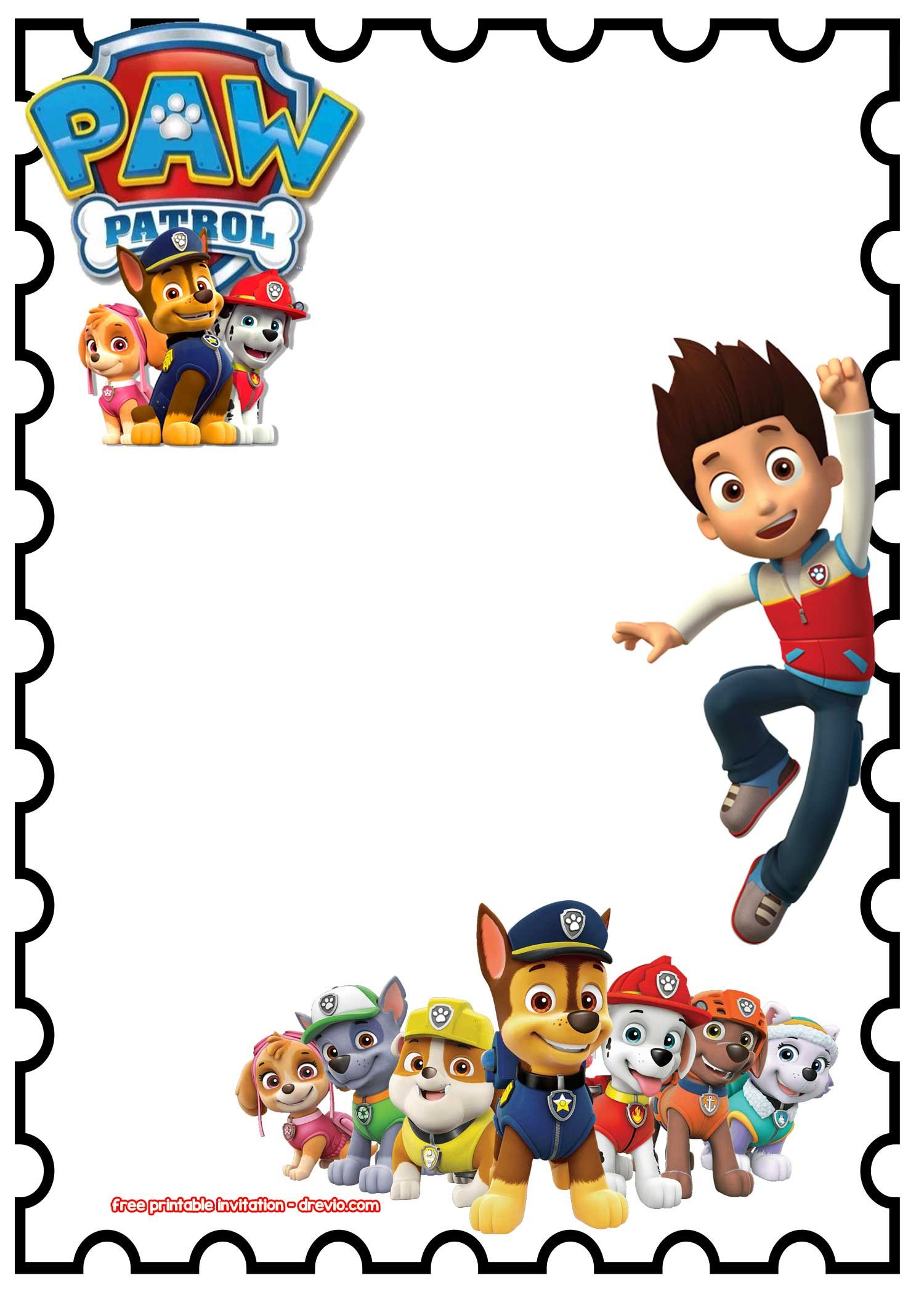 Free Paw Patrol Invitation Template Free Printable Paw Patrol Birthday Invitation Chalkboard
