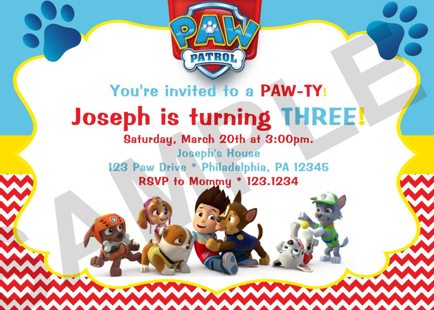 Free Paw Patrol Invitation Template Paw Patrol Birthday Invitations Paw Patrol Birthday