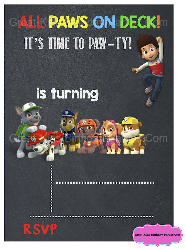 Free Paw Patrol Invitation Template Paw Patrol Birthday Paw Patrol Party
