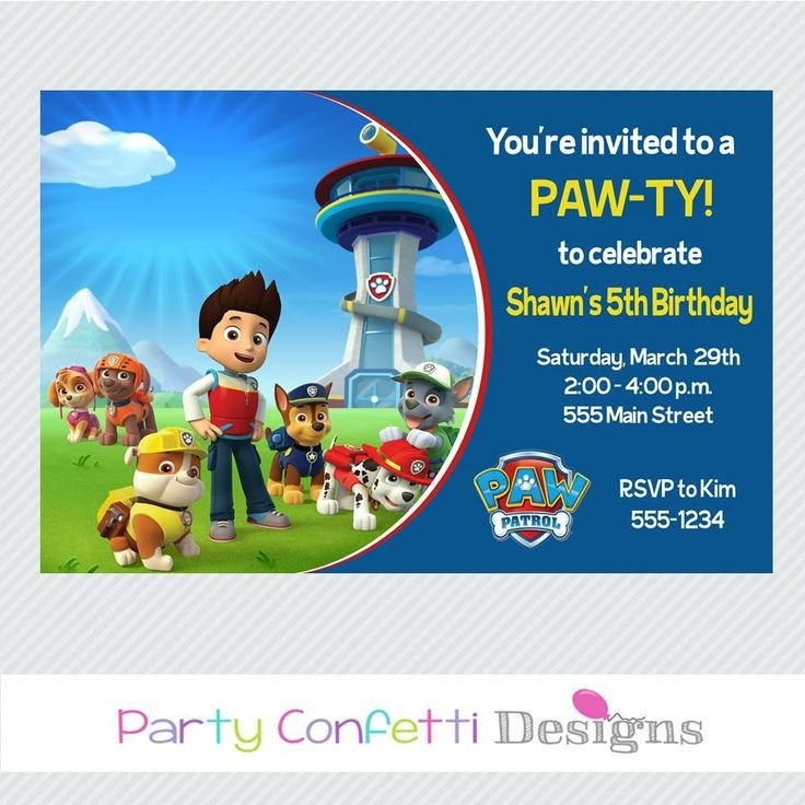 Free Paw Patrol Invitation Template Paw Patrol Invitations Birthday Party Invitation