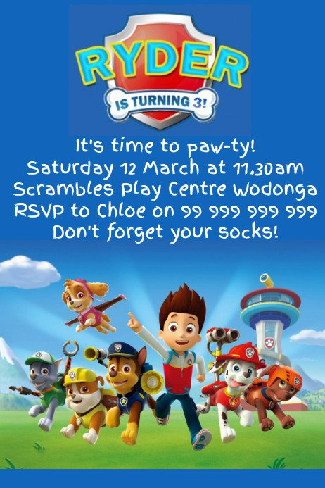 Free Paw Patrol Invitation Template Paw Patrol Party Invitation Template