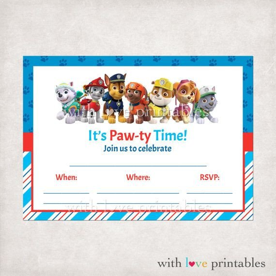 Free Paw Patrol Invitation Template Printable Paw Patrol Fill In Blank Birthday Invitations