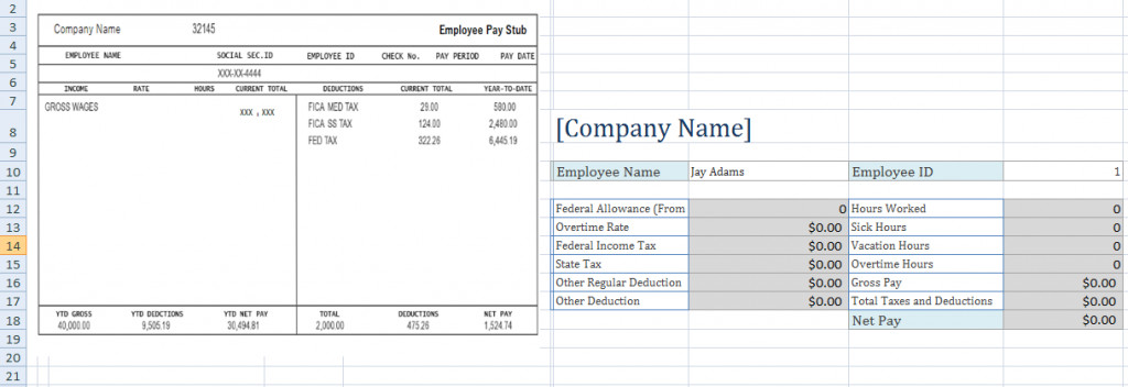 Free Pay Stub Template Excel Free Employee Pay Stub Excel Template Microsoft Excel