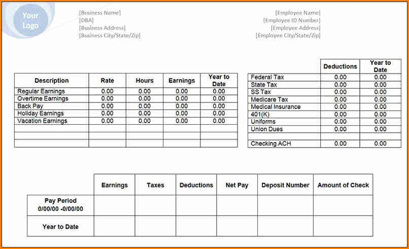 Free Payroll Checks Templates 6 Free Payroll Check Stub Template