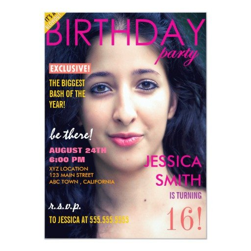 Free Personalized Magazine Covers Templates Personalized Sweet 16 Magazine Cover Invites