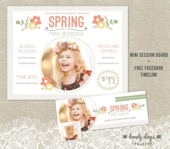 Free Photography Marketing Templates Spring Mini Session Template Marketing Board by
