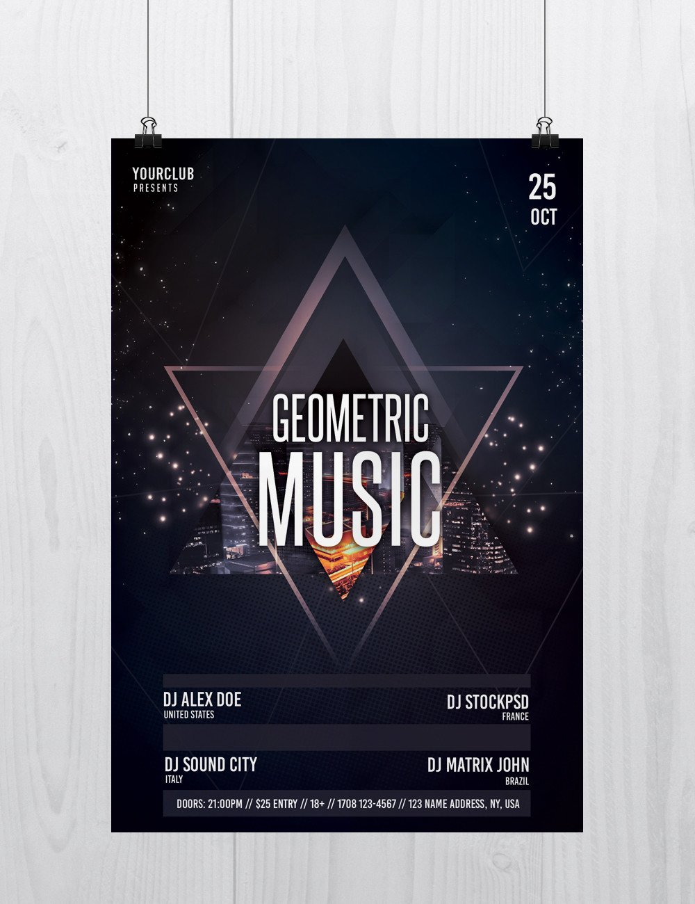 Free Photoshop Flyer Templates Geometric Music Free Psd Flyer Template Free Psd Flyer